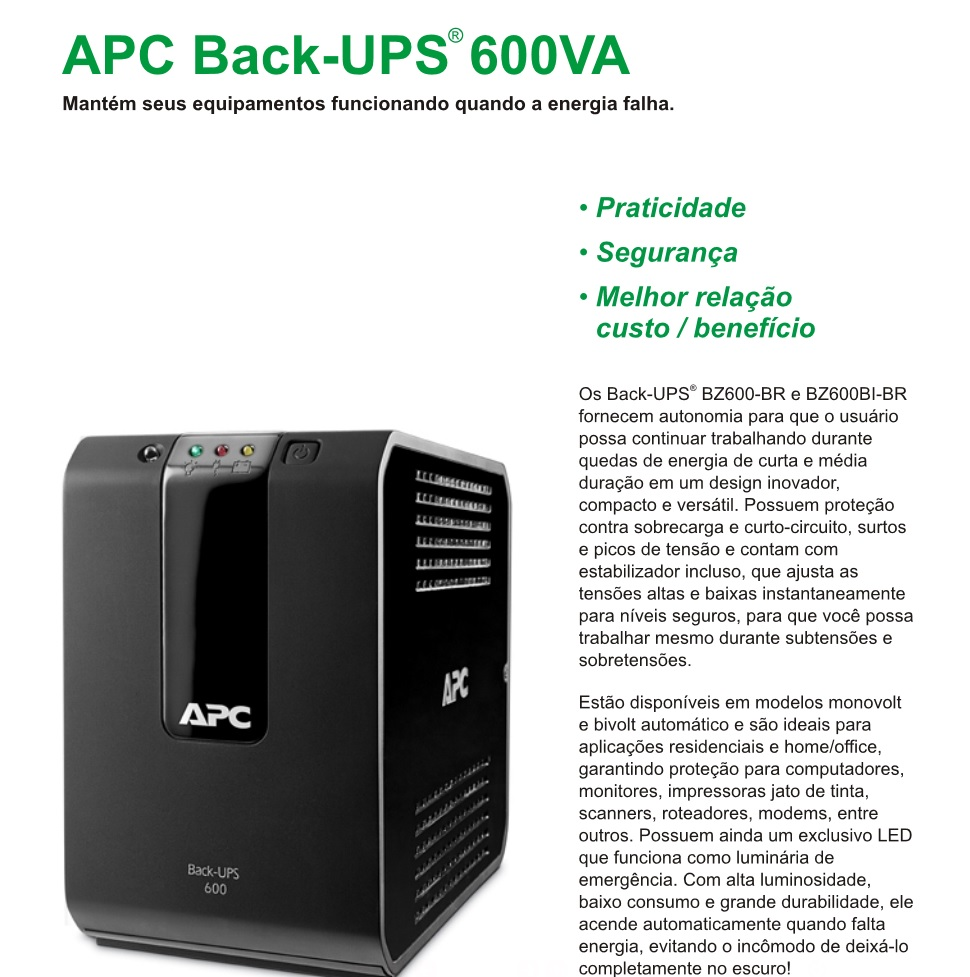 nobreak back-ups apc 600va
