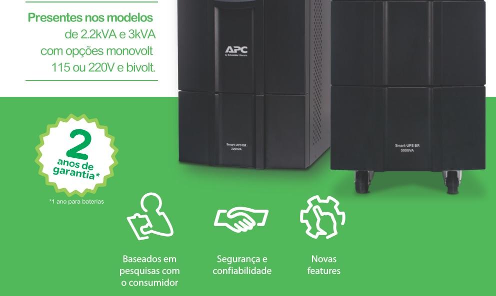 NOBREAK APC SMART-UPS BR 3000VA, Mono 220V SMC3000XLI-BR