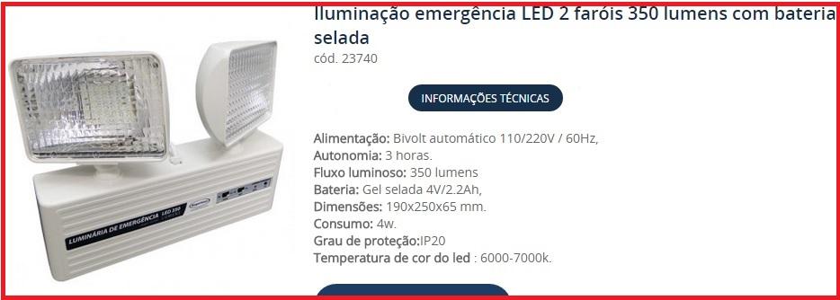 Iluminação de emergência LED 2 faróis 350 lumens