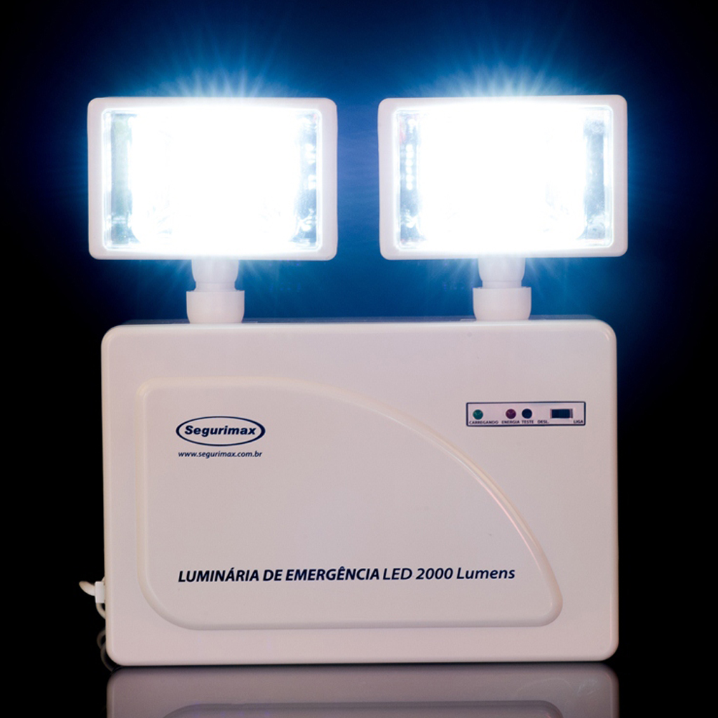 Iluminação Emergência LED 2 faróis 2000 lumens com bateria selada