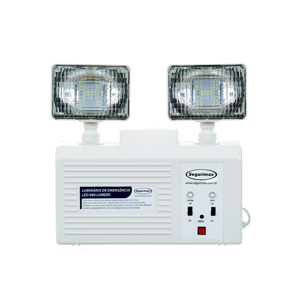 Iluminação emergência LED 2 faróis 960 lumens com bateria selada