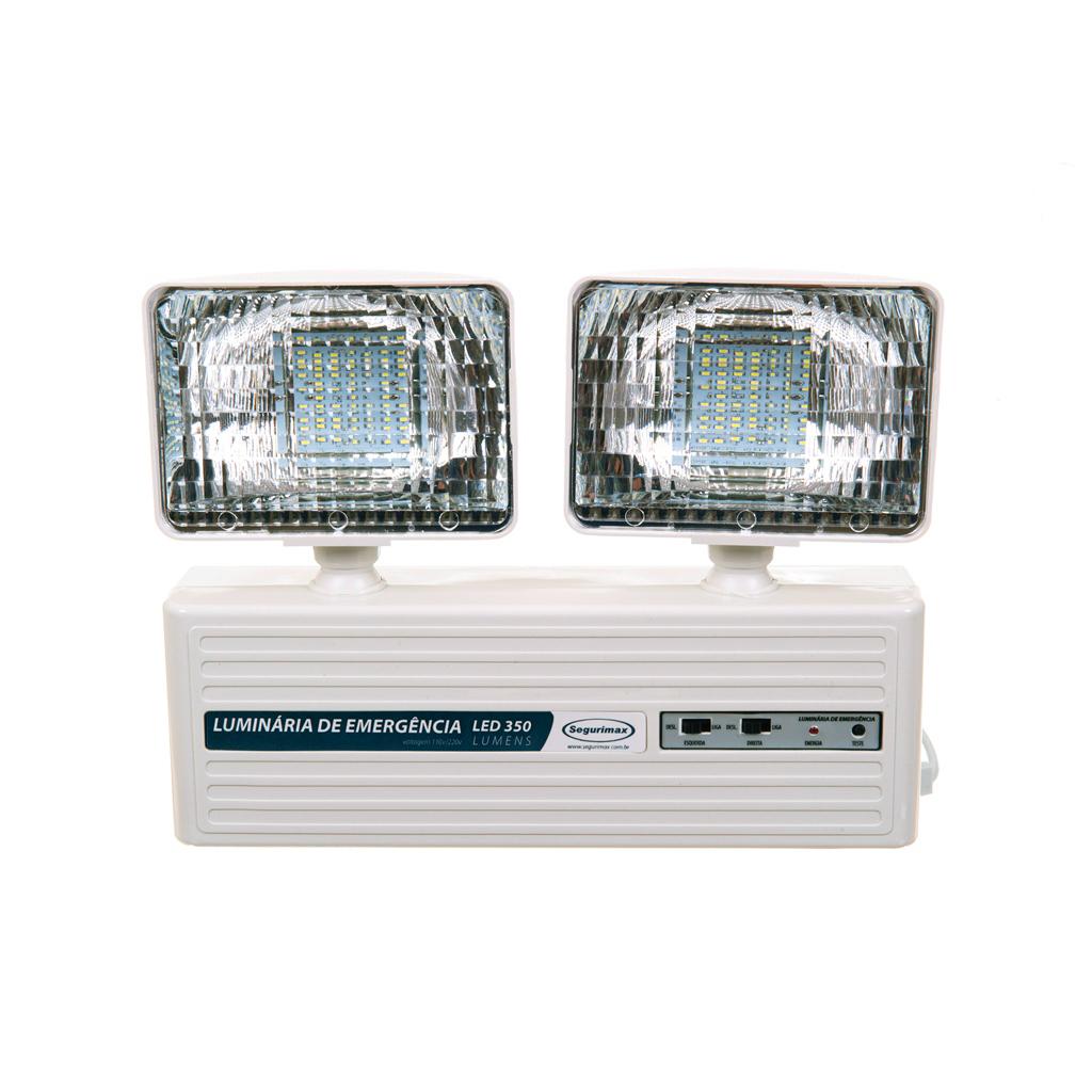 Iluminação emergência LED 2 faróis 350 lumens com bateria selada