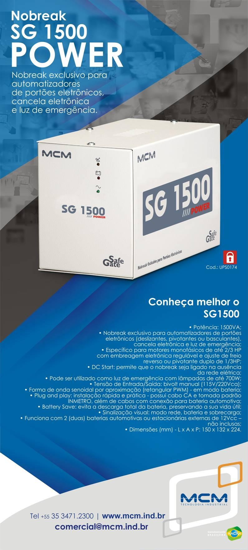 Nobreak SG 1500 para portão automático MCM