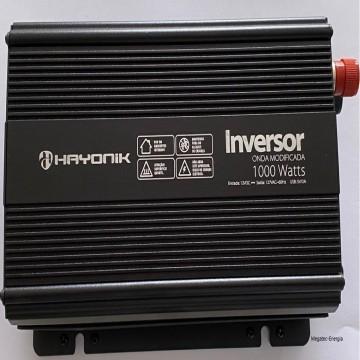 Inversor de Onda Modificada 1000W 12VDC/127V USB - HAYONIK